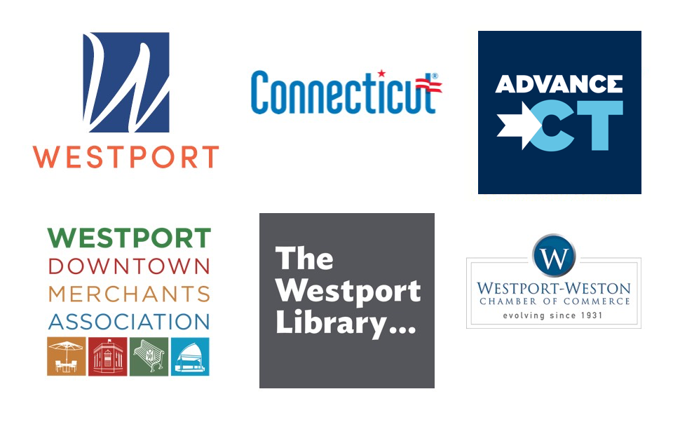 Six Logos including Town of Westport, Connecticut, Connecticut Economic Resource Center, Westport Downtown Merchants Association, Westport Library, Westport-Weston Chamber of Commerce.