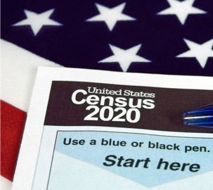 Census 2020 application with flag behind it