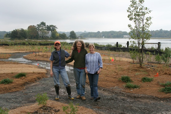 "Committee Members: Wendy Crowther, Sherry Jagerson, and Liz Milwe on ""Planting Day"" at the Preserve"